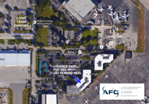 map of parking at sheltair aviation fort lauderdale international airport for private aircraft and jet charters with air flight charters