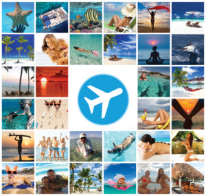 a group of pictures showing people having fun flying to the bahamas, bimini, treasure cay and marsh harbour as well as sailing, scuba diving, laying out on beach, yoga on beach, snorkeling, swimming with sharks, playing with dogs on beach, catching lobster, permit, swimming with sharks and swimming pigs, laying on raft, holding hands, dancing on beach, and getting massage.