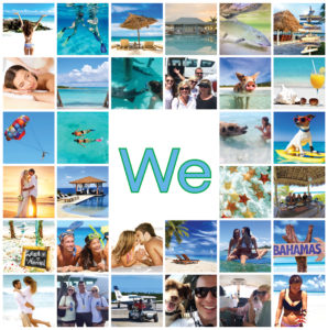 multiple photos of people having fun flying private airplane to the bahamas, playing on the beach, kissing, snorkeling, feeding swimming pigs, dining under tiki hut outdoors, parasailing, swimming with sharks, paddleboarding, fishing for bonefish, getting married, sunbathing on beach, and parasailing