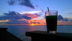 drink and sunset