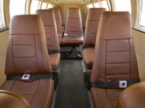 Interior photo of Leather seating in private aircraft plane Cessna 402C for Andros Eleuthera Harbour Island and Treasure Cay