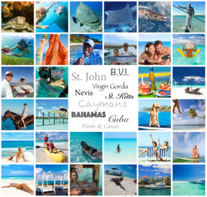 multiple pictures of people having fun flying private piston or jet aircraft charter to caribbean swimming with dolphins, fishing for bonefish, sailfish, grouper, permit and wahoo, diving for conch, swimming with dolphins, sea turtles and sharks, eating conch ceviche, laying out on beach, kayaking, laying out on beach, horseback riding, boating, yachting, feeding iguanas, snorkeling and scuba diving