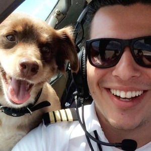 Air Flights Pilot with a passengers adorable puppy!